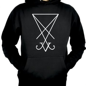 White Sigil Of Lucifer Pullover Hoodie Sweatshirt