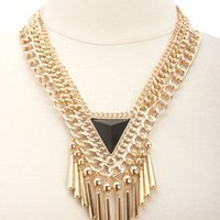Triangle, Chain & Fringe Collar Necklace by Charlotte Russe - Gold