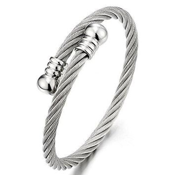 Elastic Adjustable Steel Twisted Cable Cuff Bangle Bracelet for Mens for Women