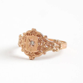 Antique Victorian 14k Rose Gold Diamond Ring - Size 7 Vintage Early 1900s Edwardian Incised Star Engagement Fine Jewelry