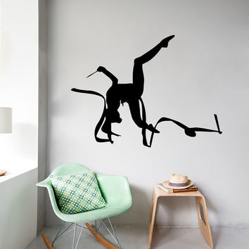 Wall Decals Girl Gymnast With A Ribbon Sport Gymnastics People Home Vinyl Decal Sticker Kids Nursery Baby Room Decor kk465