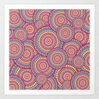 Pink Mandala Hippie Pattern Art Print by Hippy Gift Shop