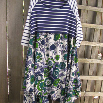 Asymmetrical Funky Retro Lagenlook Tunic Dress/Upcycled Eco Babydoll Dress Stripes Flowers Blue Green Vintage Floral L/XL 1X Plus Size