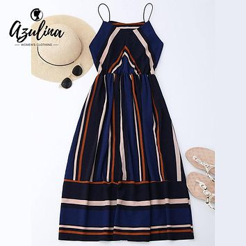 AZULINA Casual Striped Beach Dress Women Sexy Sleeveless Spaghetti Strap Midi A Line Summer Party Dress 2018 Sundress Vestidos