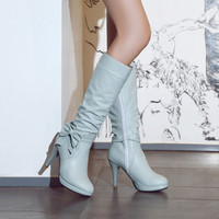 Side Zipper Bow Platform High Heel Tall Boots 5803