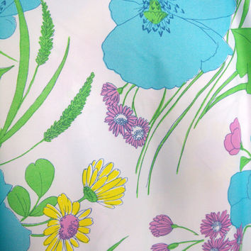 Large Lot 9 Yards Vintage Floral Fabric Pretty Blue Flowers Dusty Rose Yellow Chartreuse Soft Nylon Hippie Garden Hippie Flower Power