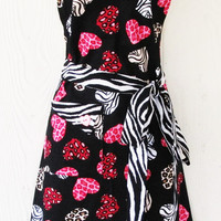 Valentine's Apron, Zebra Print, Hearts, Leopard, Hot Pink, Animal Print, READY TO SHIP, KitschNStyle