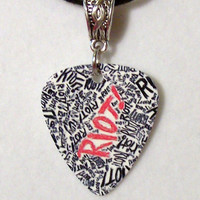 "PARAMORE / Hayley Williams - ""RIOT"" Guitar Pick Necklace with Silver Connector Charm"