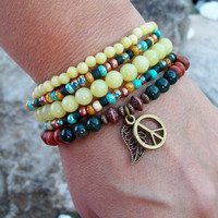 Olive New Jade and Fancy Jasper - Beaded Stretch Bracelets with Antiqued Bronze tone Peace charm - Hippie