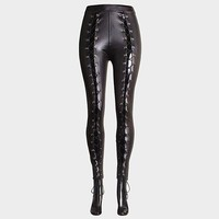 Lace Up Leather Leggings Black
