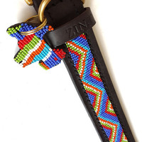 Hand Made Beaded Leather Dog Collar - MAASAI BLUE ZIGZAG