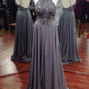 Spaghetti Straps Grey Beaded Prom Dresses