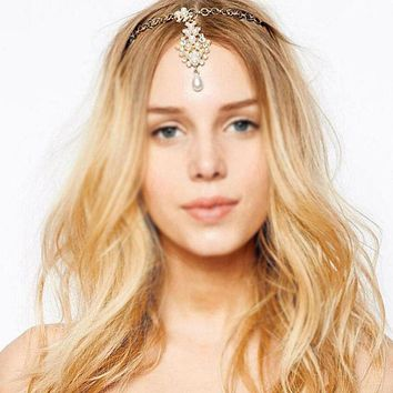 Celebrity Inspired Bohemian Handmade Gold & Pearl Hair Wedding Headband
