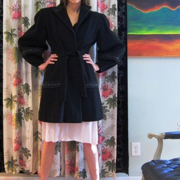 HALF OFF  Vintage 1940s Black Wool Coat with by BasyaBerkman