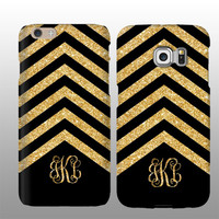 Gold black chevron Glitter iPhone 6s case, Personalized, Samsung Galaxy S6 Edge Plus case, iPhone 6 plus, iPhone 5s case, Samsung Galaxy S5