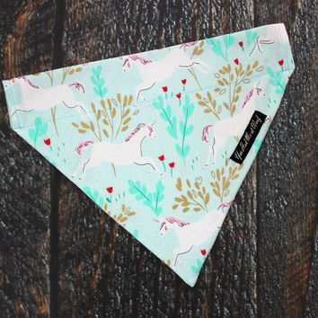 Unicorn Dog Bandana, Over the Collar
