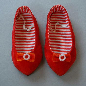 Mattel VINTAGE Chatty Cathy Doll ORIGINAL Red Velvet Shoes Stamped JAPAN c.1960's