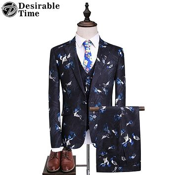 Men Navy Blue Party Suits Fashion Slim Fit Printed Men Prom Suits for Wedding