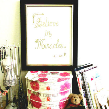 Quote Print, Printable wall art decor poster, Inspirational love, digital typography - Believe in Miracles Quote by Sammy's Studio