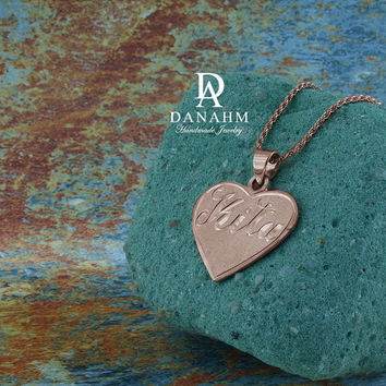 Love Heart Necklace, Sterling Silver, Rose Gold Plated, Personalized, Hand Engraved Letters in English & Arabic, NE003C