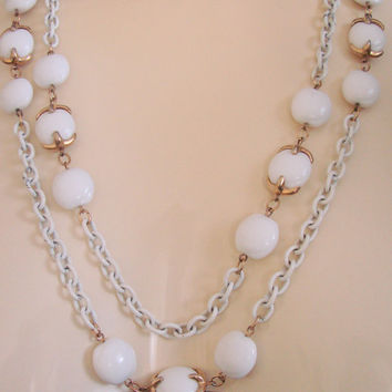 Trifari White Thermoset Enamel Necklace / Flapper Length / 54 Inch Long / Designer Signed / Jewelry / Jewellery