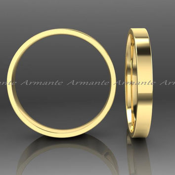 2.50mm Wide Yellow Gold Wedding Band 14k Yellow Solid Gold Wedding Ring Stuck Ring
