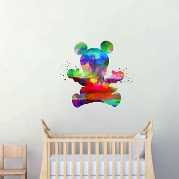 kcik2128 Full Color Wall decal Watercolor Character Disney baby Mickey Mouse children's room Sticker Disney
