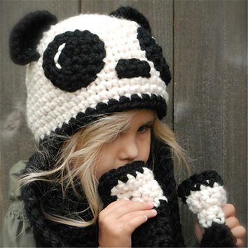 Winter Children Handcrafts Cartoons Panda Scarf Hats [72080621583]