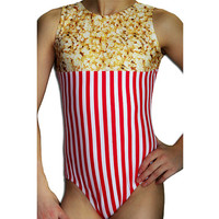 Gymnastics POPCORN Leotard Lycra Print Gymnastic Leotard Gymnast cxs cs cm cl axs as am al sizes Toddler - Adult