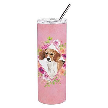 Beagle Pink Flowers Double Walled Stainless Steel 20 oz Skinny Tumbler CK4265TBL20