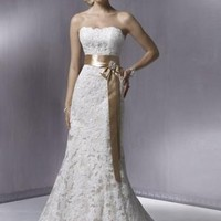 Simple Mermaid Strapless Lace Wedding Dress Bridal Gwn With Sash And Beading
