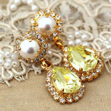 Yellow white pearl canary Chandelier earrings, Swarovski Crystal, Bridal jewelry, Statement earrings 14 k gold plated dangle earrings.