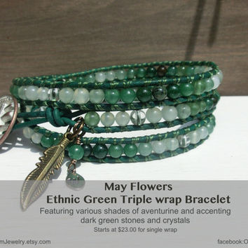 Ethnic Green Handmade Leather Wrap Bracelet - May Flowers
