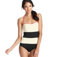 Black and White Colorblock One Piece Swimsuit