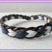 Bangle leather bracelet woven bracelet girl bracelet women bracelet ropes bracelet With leather and Ropes Woven bracelet Cuff  1SZ-LH-087