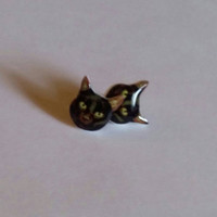 Black cat post earrings