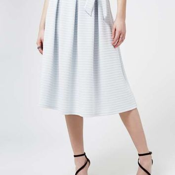 Pale Blue Stripe Midi Skirt