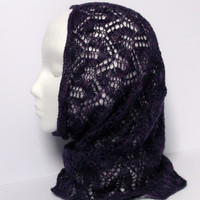 Hand knitted purple shades lace infinity cowl / neckwarmer / snood. Gothic. Hand dyed  Bluefaced Leicester  wool.