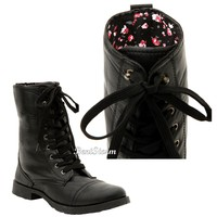 Licensed cool COMBAT BOOTS Black Vintage Floral Pink Roses WOMENS Lace Up SHOES 6-10 Hot Topic