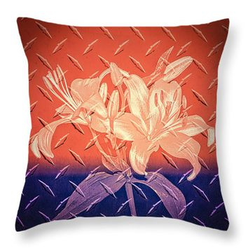 "Metallic Flowers Throw Pillow for Sale by Carolyn Marshall - 14"" x 14"""