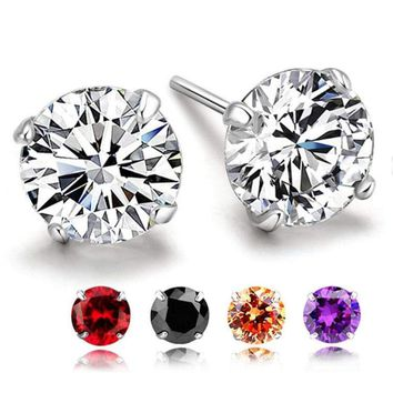 Solid Real 925 Sterling Silver Crystal CZ Stud Post Earrings Small