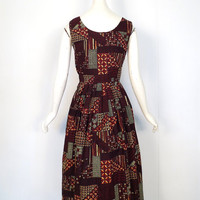 Vintage 1950s Sundress / Afrikan Patchwork Dress / 50s Dress / 1950s Dress / XXS
