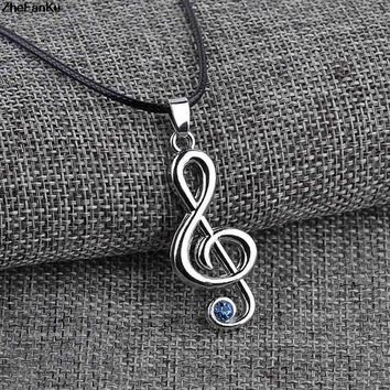 New Popular Lovely Music Note Necklace Pendants Exquisite Jewelry for Women Rhinestone Necklace