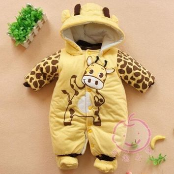 PEAPIX3 2014 new Baby Boys And Girls Jumpsuit Animal Giraffe Print Romper Cotton-padded Clothes = 1929645636