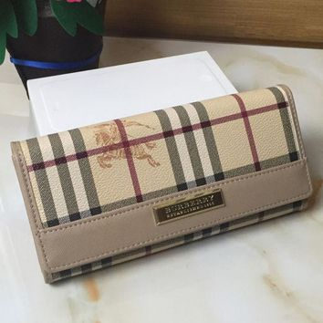DCCKJG8 Burberry Women Tartan Leather Wallet Purse