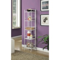 Convenience Concepts Designs2Go White 5-Tier Folding Metal Shelf-8016W - The Home Depot