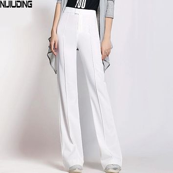 NIJIUDING 2017 New Elegant Women's OL Work Wear Trouser straight wide-legged pants female trousers formal pants white and black