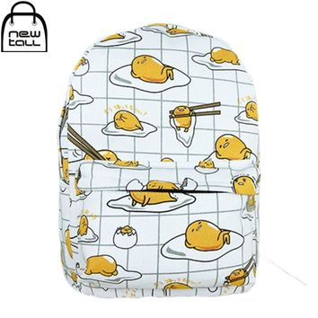 Newtall Kawaii Cartoon Gudetama Cute Fried Eggs Funny White Cartoon Backpack Teens Women Canvas School Shoulder Bag New Fashion