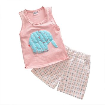 Kids baby boy clothes set Toddler Kids Baby Boy Cartoon T-shirt Vest Tops boy Shorts Elephant Outfits kids clothes drop shipping