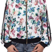 Floral Bomber Jacket in White